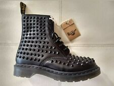 DOC DR MARTENS BLACK SPIKE STUDDED LEATHER BOOTS BRAND NEW RARE UNISEX SIZE 6UK