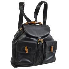 GUCCI Bamboo Backpack Hand Bag Black Leather Vintage Italy VTG AK36787b