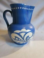 "VTG  CZECHOSLOVAKIA CELEBRATE Art Deco BLUE 8"" BULBOUS POTTERY PITCHER"