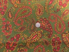 vintage fabric RETRO AVOCADO GREEN ORANGE HARVEST GOLD PAISLEY NEW VIVID GROOVY