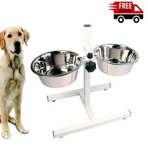 Rosewood Adjustable Double Diner Pet Dog Cat Feed Food Water Bowls Set, 3 Sizes