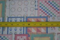 By 1/2 Yd, Pastel Quilts on Clothes-Lines  on Cream Quilting Cotton, M7652