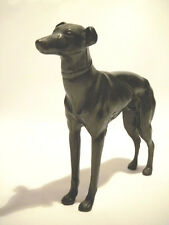 BRONZE ANTIQUE GREYHOUND DOG STATUE W COLLAR STANDING AT ATTENTION BLACK PATINA
