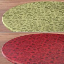 ELASTICIZED Vinyl Floral Round Oblong Table Cover Yellow Blue Brown Tan Red Gr ~