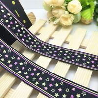 NEW 5 Yards 1'' 25mm Black Fringe star Printed Grosgrain Ribbon Hair Bow Sewing