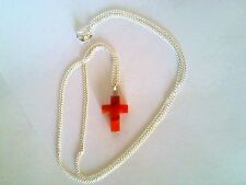 Beautiful Red Agate Gemstone Cross Sterling Silver Necklace Religion