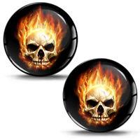3D Schädel Skull Feuer Flammen Silikon Aufkleber Totenkopf Helm Auto Motorrad