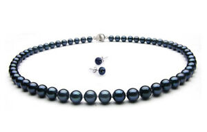 Fresh Water Rare Blue Pearl Bead Necklace and earring in luxury giftbox freepost