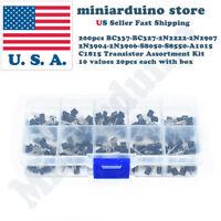 200pcs NPN PNP Transistor Assortment Kit Box BC337 BC327 2N2222 2N2907 2N3904 ..