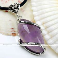 Fashion Natural Amethyst Gemstone Maquise Bead Pendant For Necklace Cord Chain