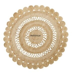 Indian Natural Jute Round Rugs Hand Braided style bohemian Home decor Jute Rugs