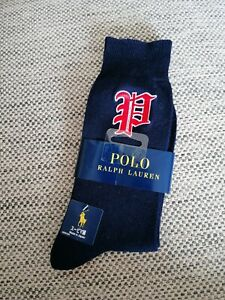 Polo Ralph Lauren Navy Blue Gothic P Embroidered 1 pair of socks made in Japan