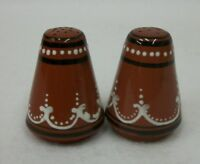 Vintage Redware Pottery Hand Decorated Salt and Pepper Shakers Portugal