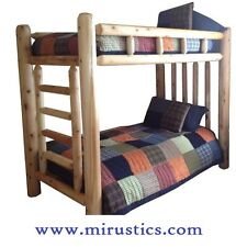 #1 Selling Queen/Queen Rustic Cedar Log Bunk Bed Bunkbed - EASY ASSEMBLY