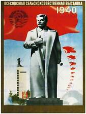 Agriculture soviet union stalin red flag statue uncle joe russia poster 1650PY