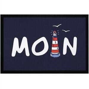 Fußmatte Moin maritim Leuchtturm norddeutsch Hallo Willkommen rutschfest &