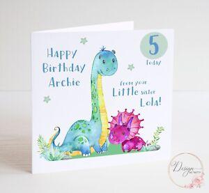 Personalised DINOSAUR Little Sister Birthday Card - Big Brother