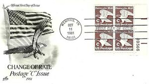 "U.S. 1981 ""C"" new Rate 18c to 20c #1946 Plate # Block of 4 ArtCraft FDC Cachet"