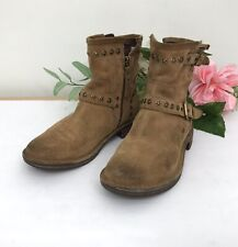Womens Ugg Fabrizia w Studs Moto Boots sz 7 Suede Shearling Footbed