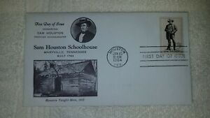 Rare Sam Houston Schoolhouse Stamped Envelope-1st day of issue, January 10, 1970