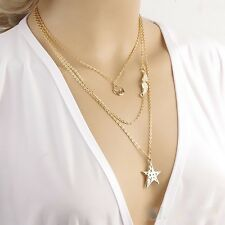 Romantic Star Angle Wings Gold Plated 3 Layers Charm Chain Pendant Necklace