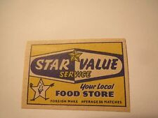 Star Value Service - Your Local Food Store / Streichholzetikett