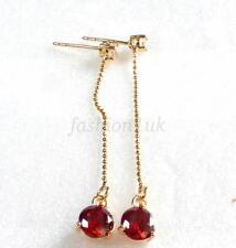 Women Girl Red Dangle Earrings 5cm Long 18K Yellow Gold Plated CZ Cubic Wedding