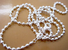 Wholesale 5PCS 925 Sterling Silver Ball Bead Chains Necklace  2MM 20""