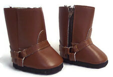 """Brown Harness Western Cowboy Boot Shoes made for 18"""" American Girl Doll Clothes"""