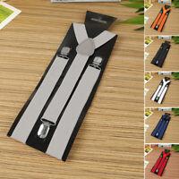 Mens Braces Wide Adjustable Elastic Suspenders Y Shape Strong Clips Accessories