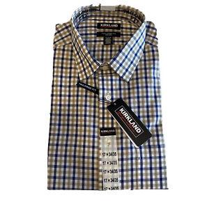 Kirkland Men's Long Sleeve Dress Shirt Traditional Fit 17x34/35 Blue/Tan Chk NWT