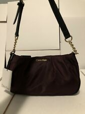 Calvin klein womens nylon demi medium/ Small Shoulder Bag Handbag Rum Raisin New