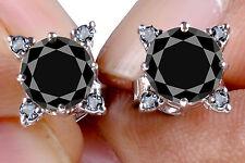 4.30ct Black Real Moissanite & Natural Raw White Diamond .925 Silver Earrings