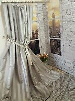 "NEW Heavy Huge Grey Ascot Fryets Stripes113""D128""W Cotton Lined Bespoke Curtains"
