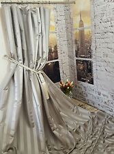 """NEW! Heavy Huge Grey Ascot Fryets Stripes 113""""D 52""""W Cotton Lined Curtains"""