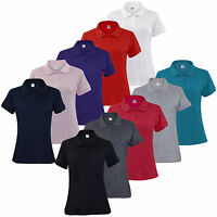 New Ladies Pique Polo Shirt PK Tee Collar Neck plus Sizes Women T- Shirt Top
