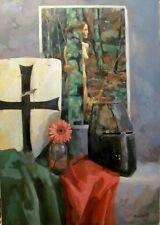Original Russian oil USSR Socialist realism Painting still life 2015