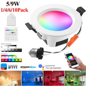 5/9W Smart Wireless WIFI Bluetooth Mesh LED Downlights Dimmable Ceiling Light UK