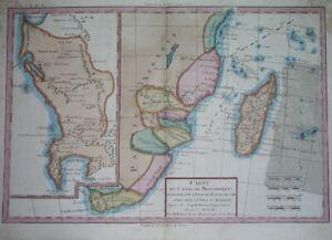 1787 ORIGINAL MAP OF SOUTH AFRICA CAPE TOWN NATAL ANGOLA MOZAMBIQUE MADAGASCAR