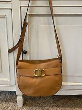 EuC Tory Burch Gemini Link Leather Belted Hobo Purse Camel Brown Gold Handbag