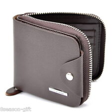 Men Leather Zipper Wallet Pockets Money Purse ID Credit Card Clutch Bifold Brown
