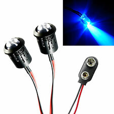 2x Police Flashing Blue Large Lights R/C Car Buggy Truck LED + PP3 Connector Kit