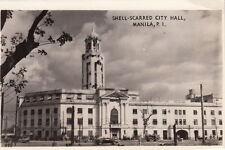 Postcard RPPC Shell Scarred City Hall Manila Philipine Islands