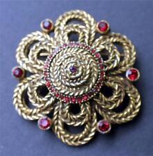 Vintage Signed DeNicola De Nicola Goldtone Red Rhinestones Pin Brooch