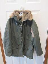 Vintage N3-B Parka Coat size men's medium sage green real fur hood