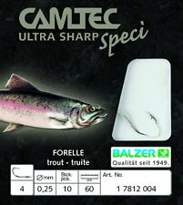 10 Forellenhaken Feder geb Gr4 CAMTEC Ultra Sharp Speci