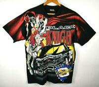 Vintage 90s Dale Earnhardt Sr Nascar T-Shirt All Over Mens Medium Black Knight