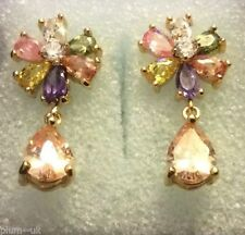 Pear Crystal Yellow Gold Filled Drop/Dangle Costume Earrings