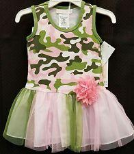 NWT Bonnie Jean Camo Green Pink Flower Dress Skirt 18 months Camouflage
