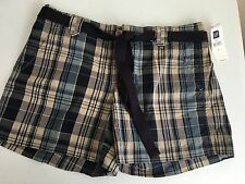 "New Gap Women's 1 Shorts Madras Size 1 Blue Plaid 4.5"" inseam Belt"